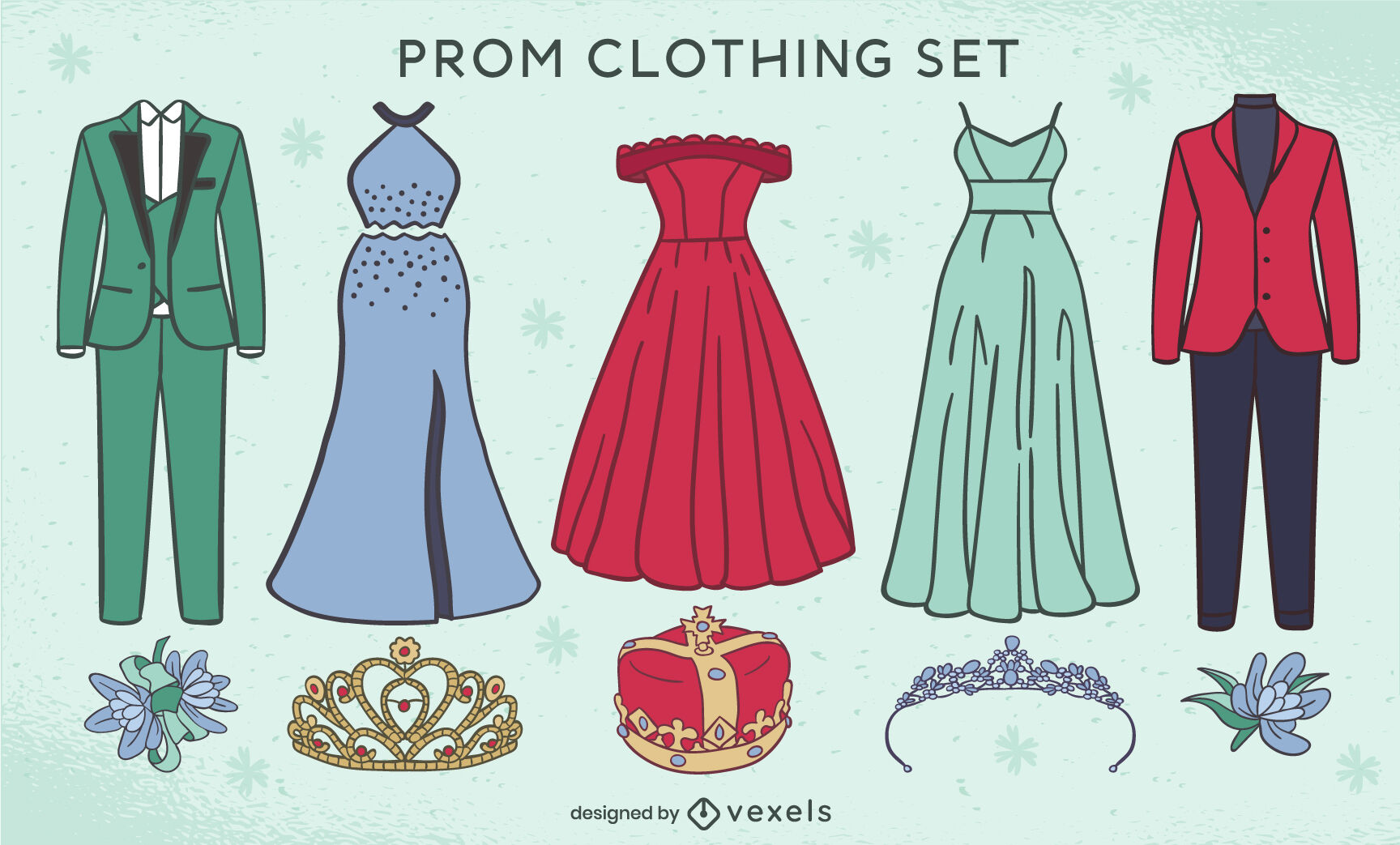 Prom formal party clothing attire set