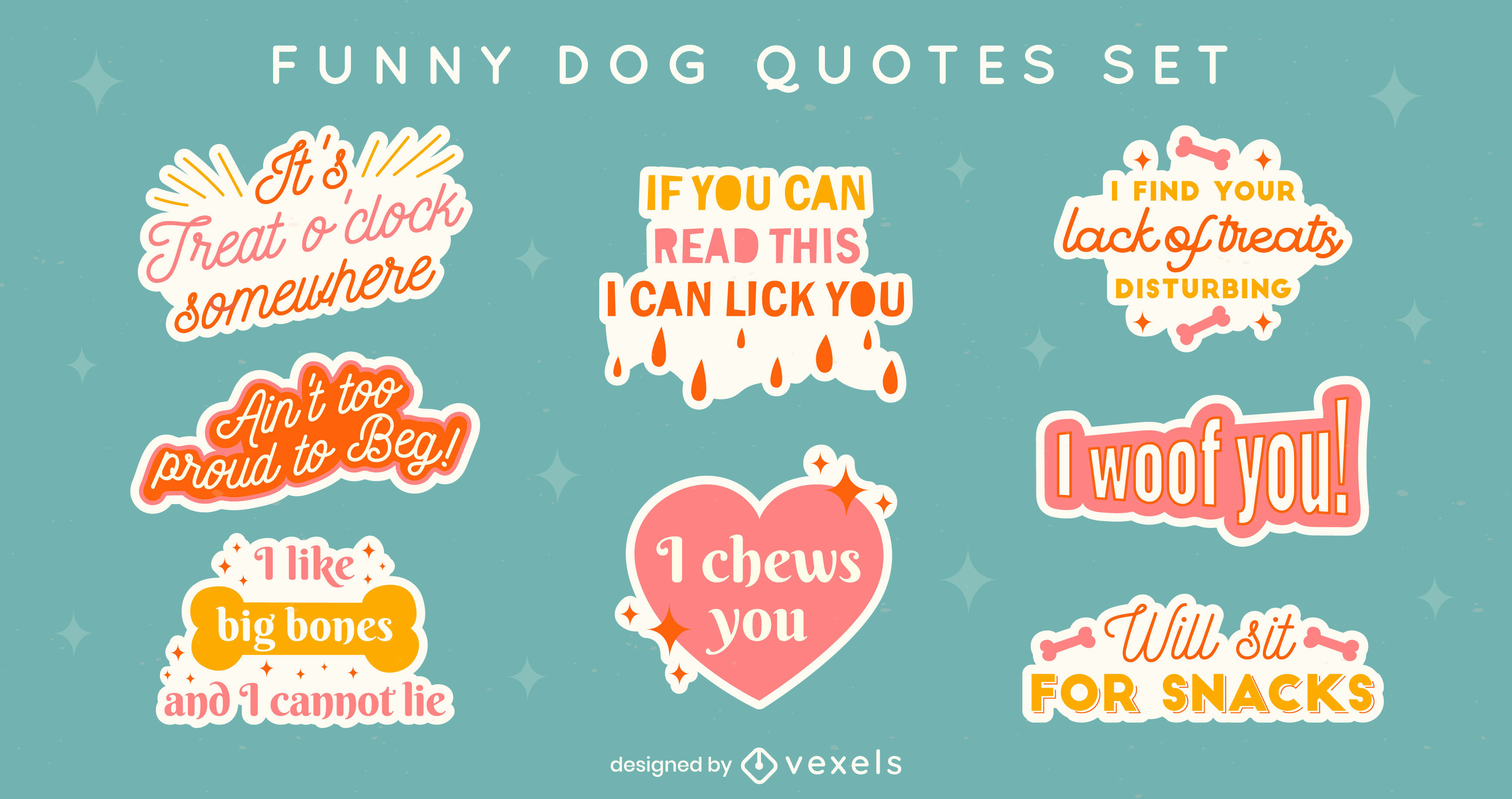 Funny dog quotes badge set