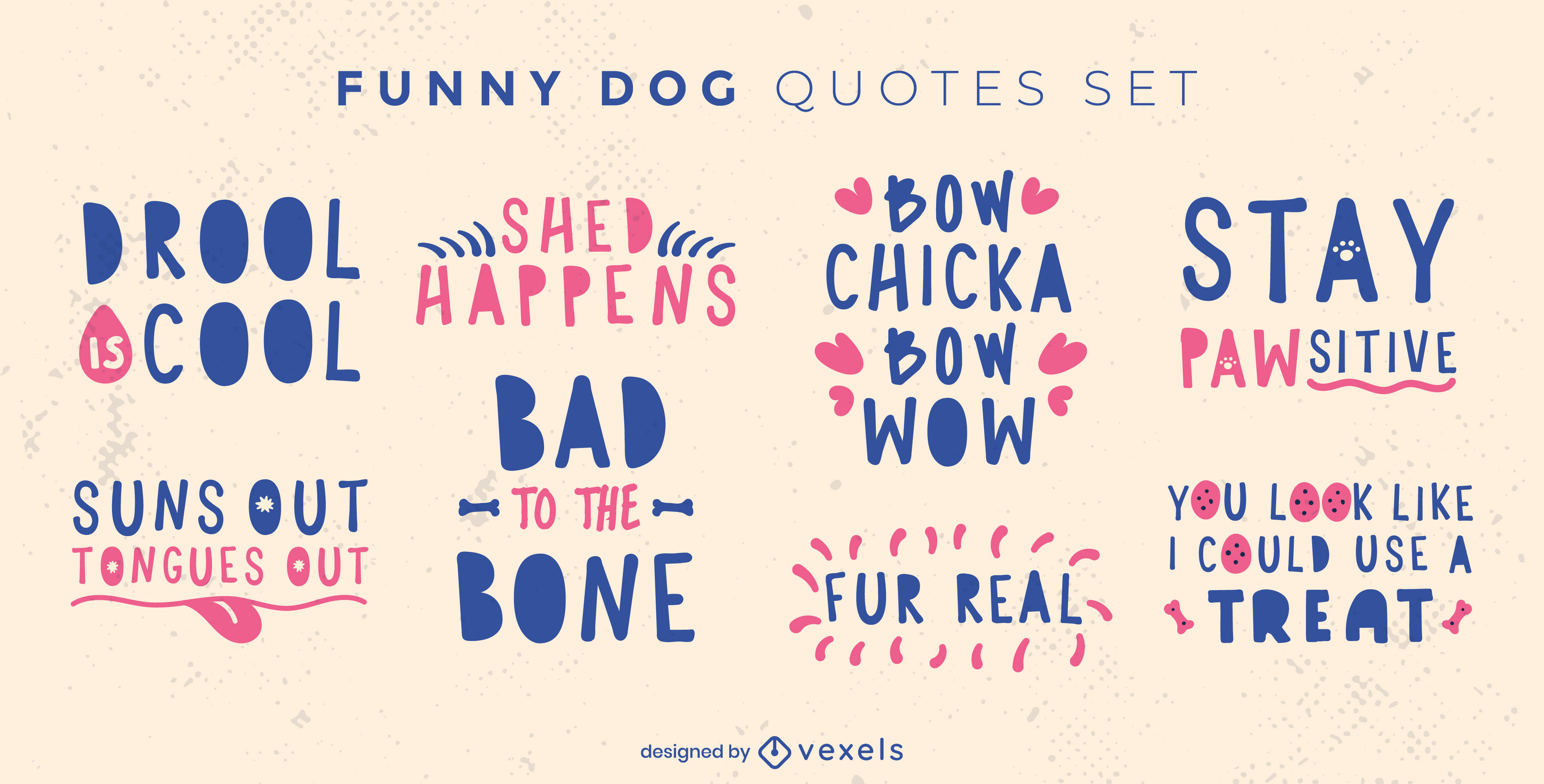 Funny dog animal quotes badge flat set