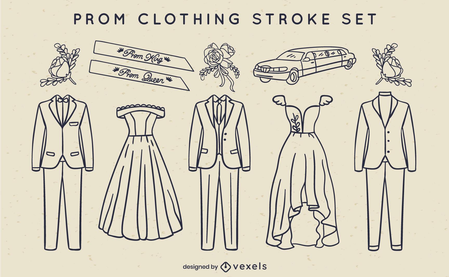 Formal attire prom party celebration stroke set
