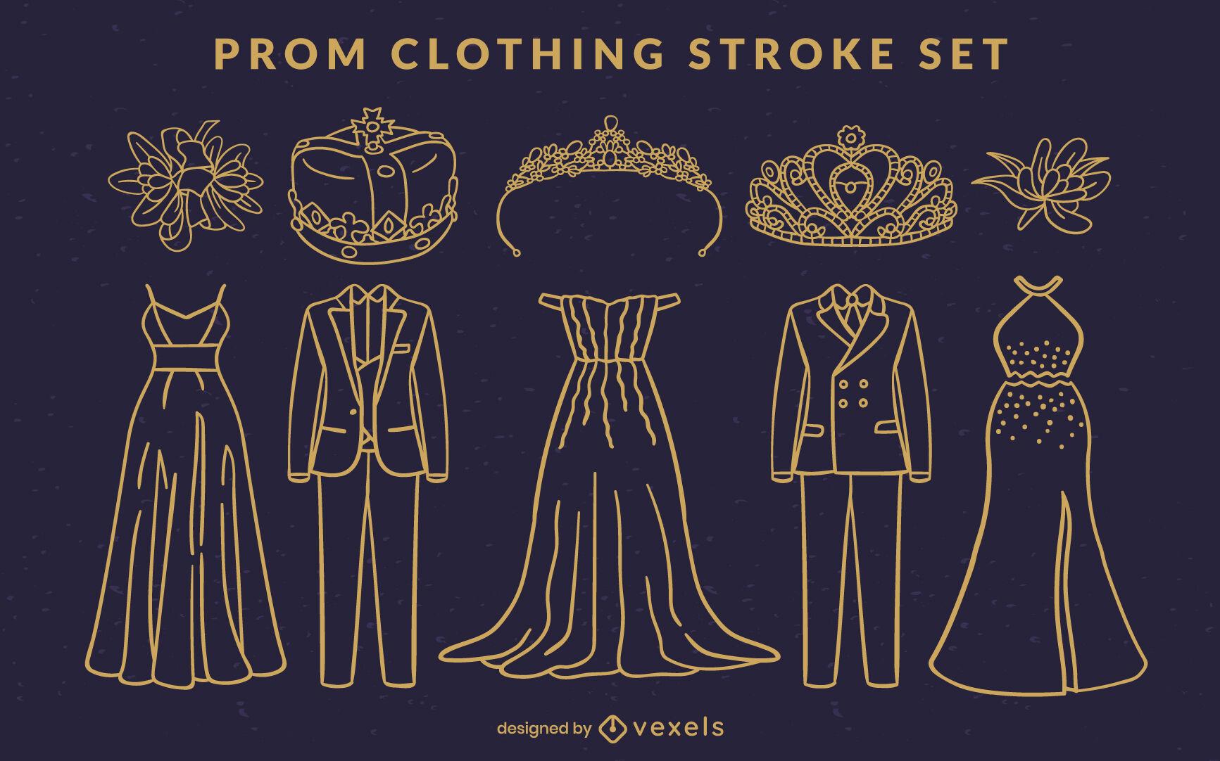 Prom party fancy clothing stroke set