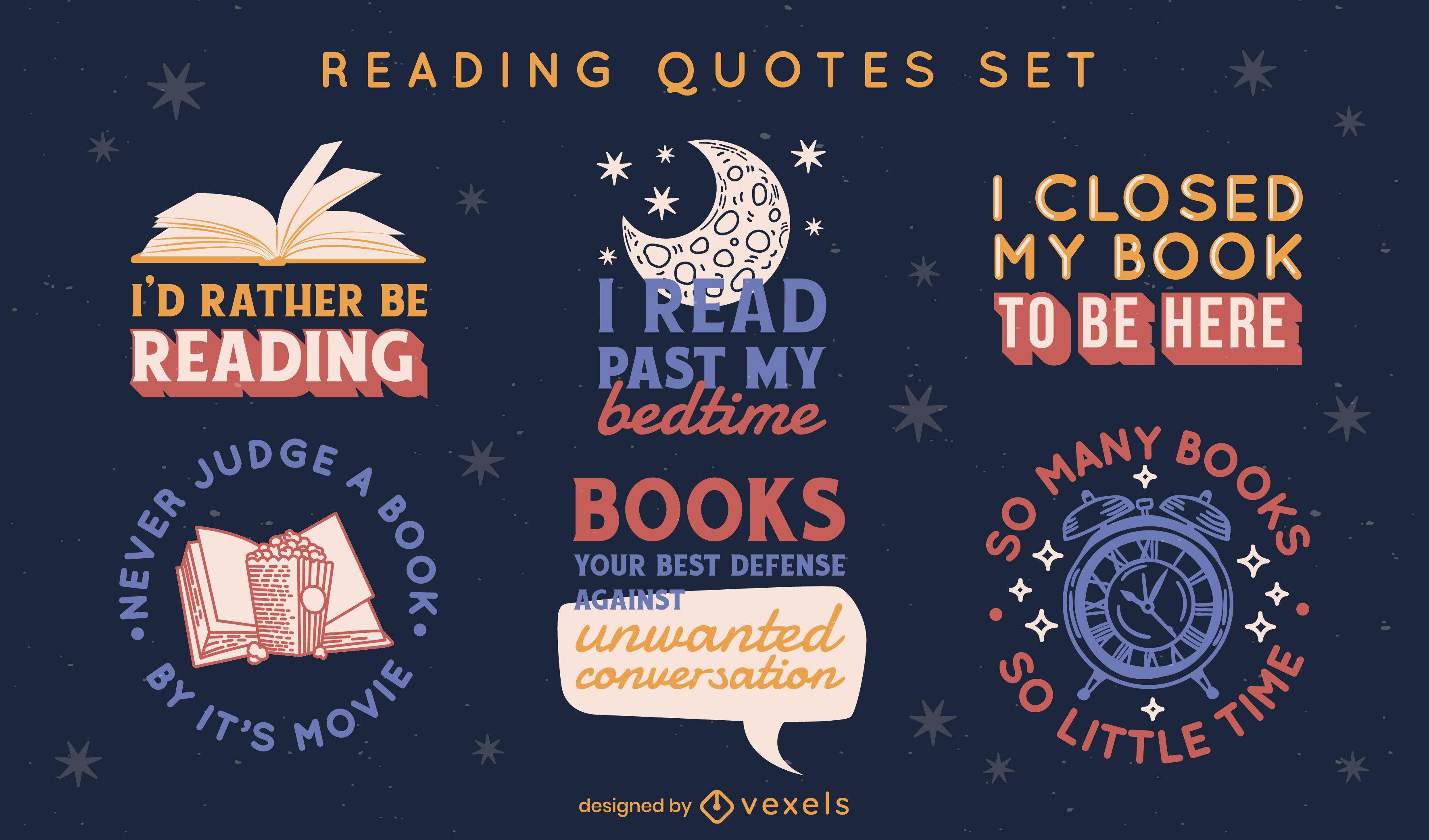 Reading books hobby badge set