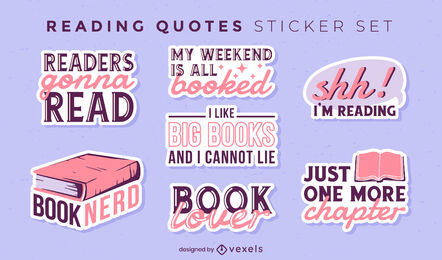Reading books hobby sticker quotes set