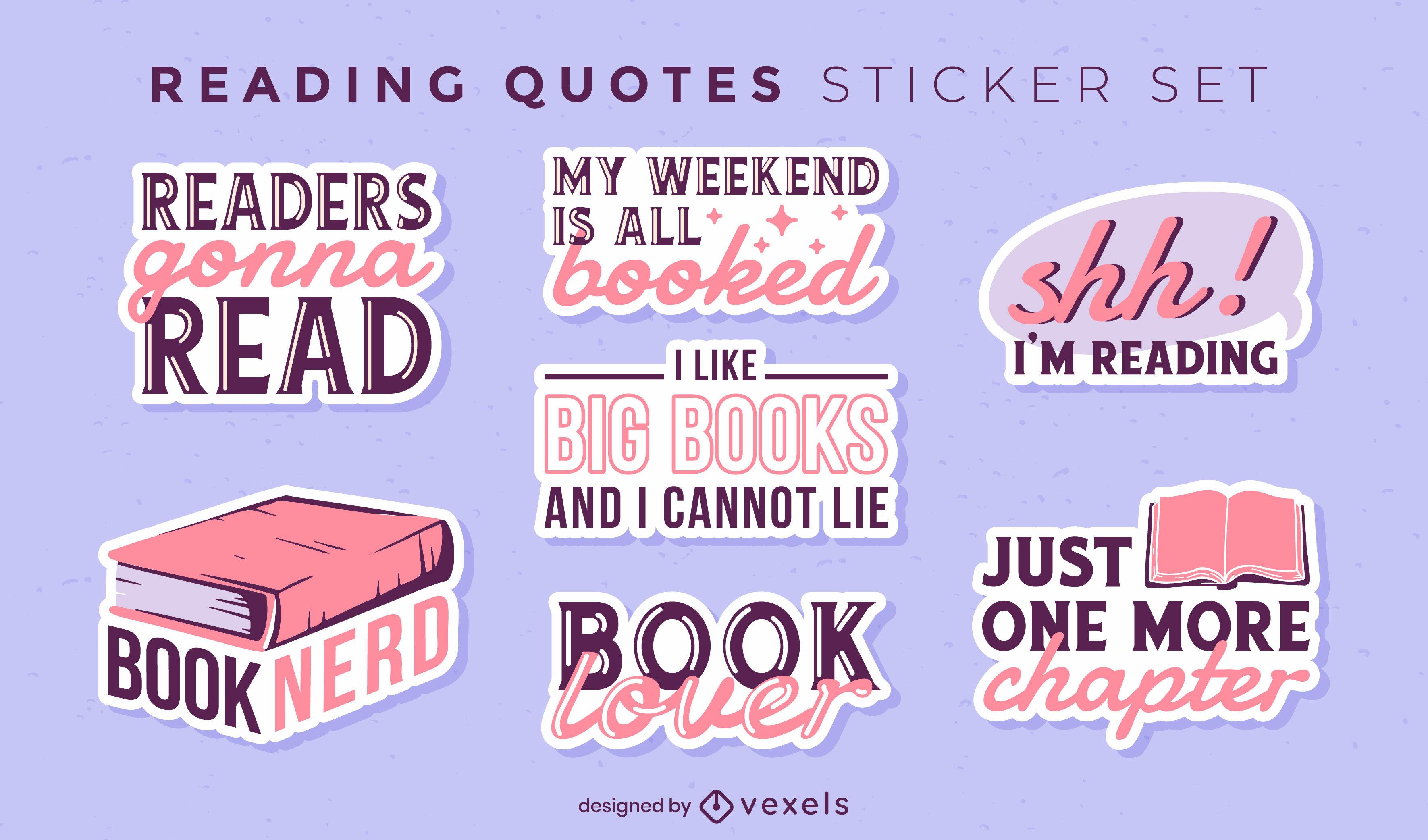 Conjunto de citas de pegatinas de hobby de libros de lectura