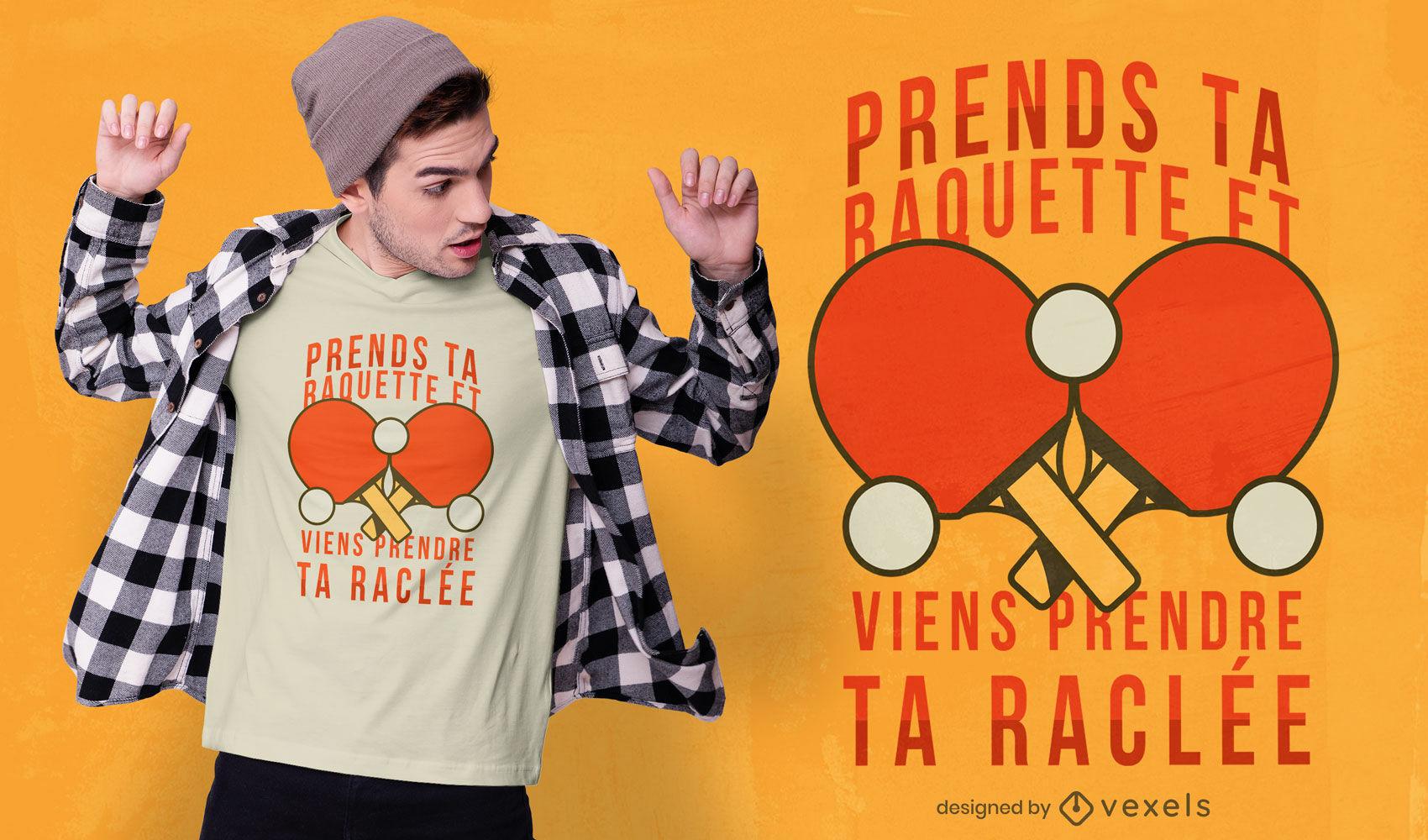 Diseño de camiseta raquetas ping pong cita