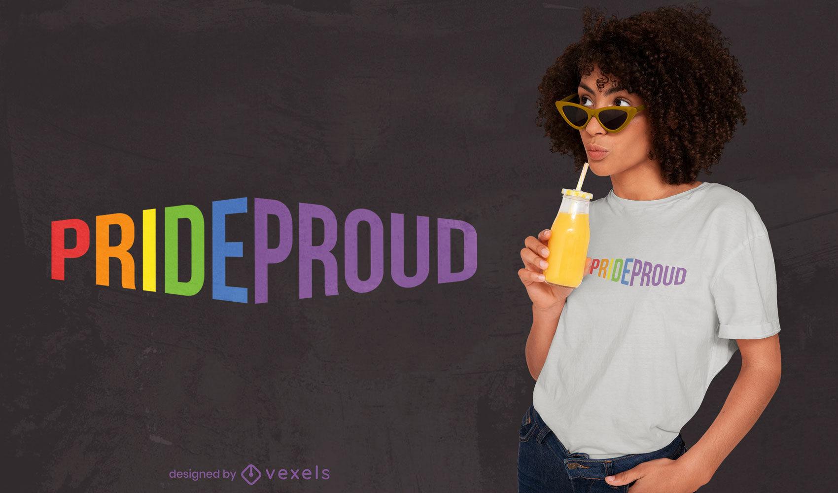 Diseño de camiseta con cita lgbt de orgullo arcoiris