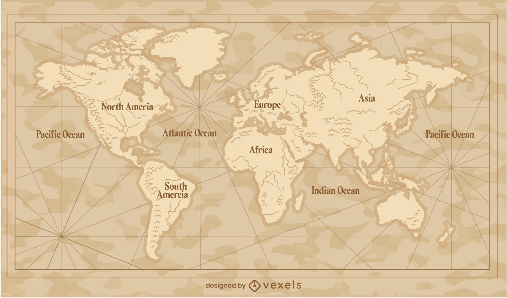 Ilustración tradicional de mapa del mundo vintage