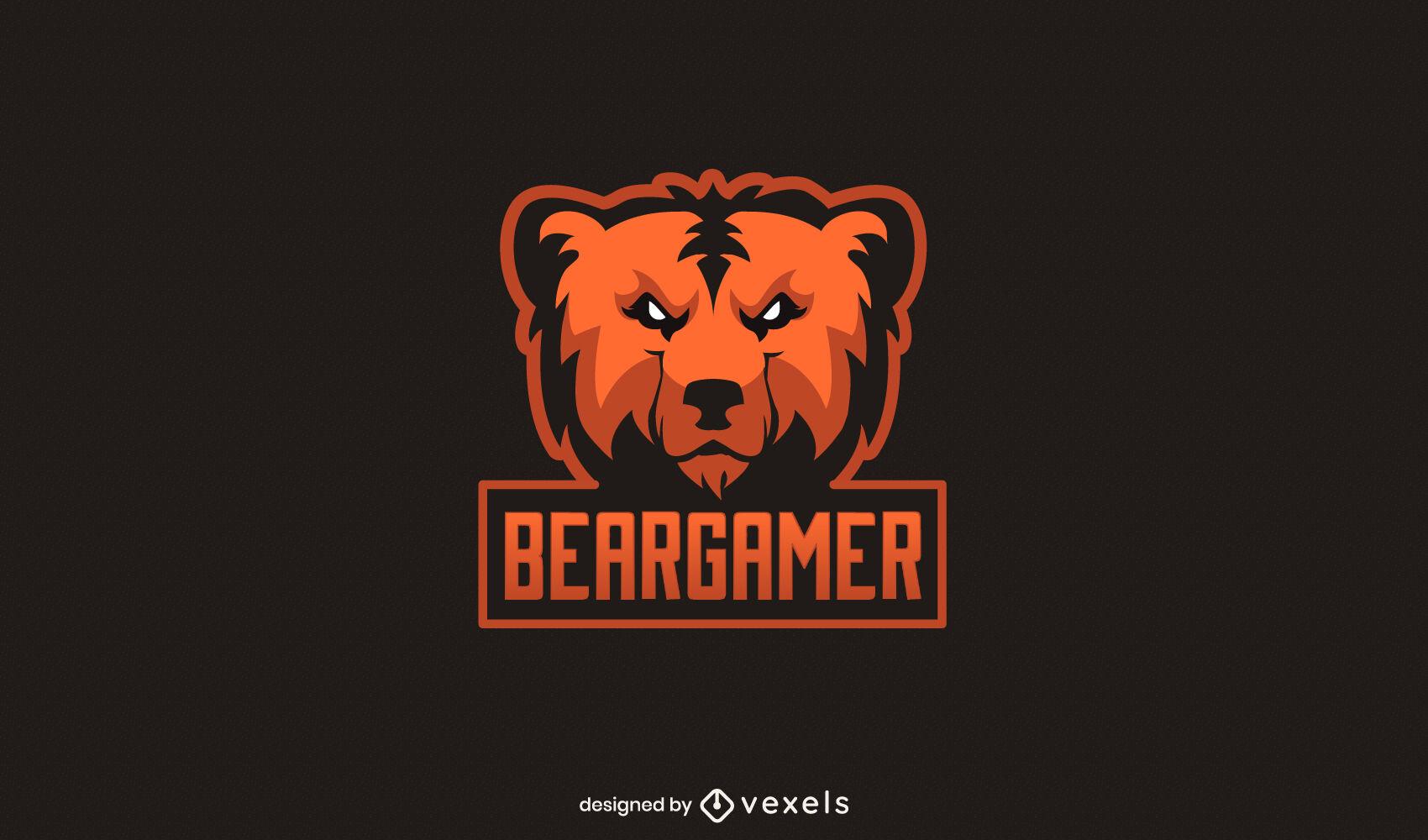 Gaming bear wild animal logo design