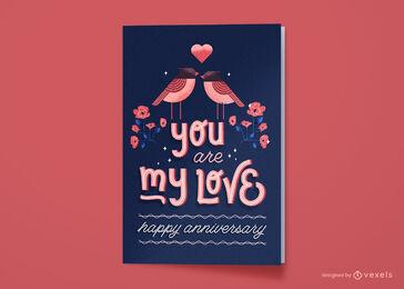 Feliz aniversario amor tarjeta de felicitación