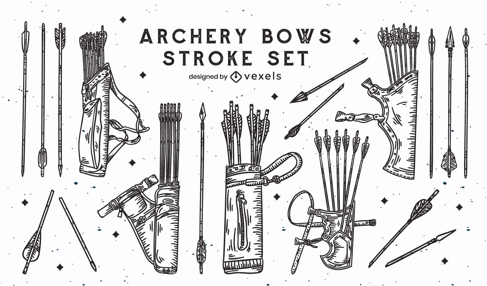 Bow and arrows archery stroke set