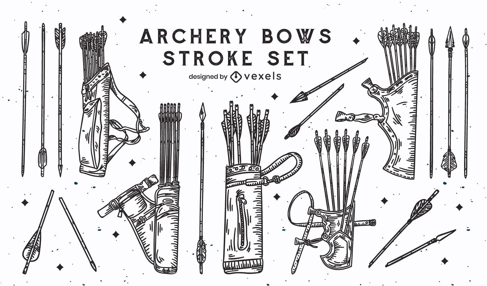 Conjunto de trazos de tiro con arco de arco y flechas.