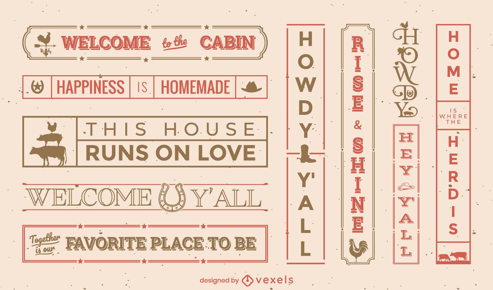 Farm house cowboy quotes label set