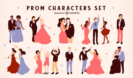 Prom party characters in formal dress set