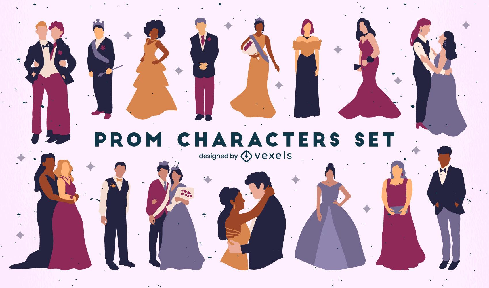 Conjunto de ropa formal de personajes de fiesta de graduación.