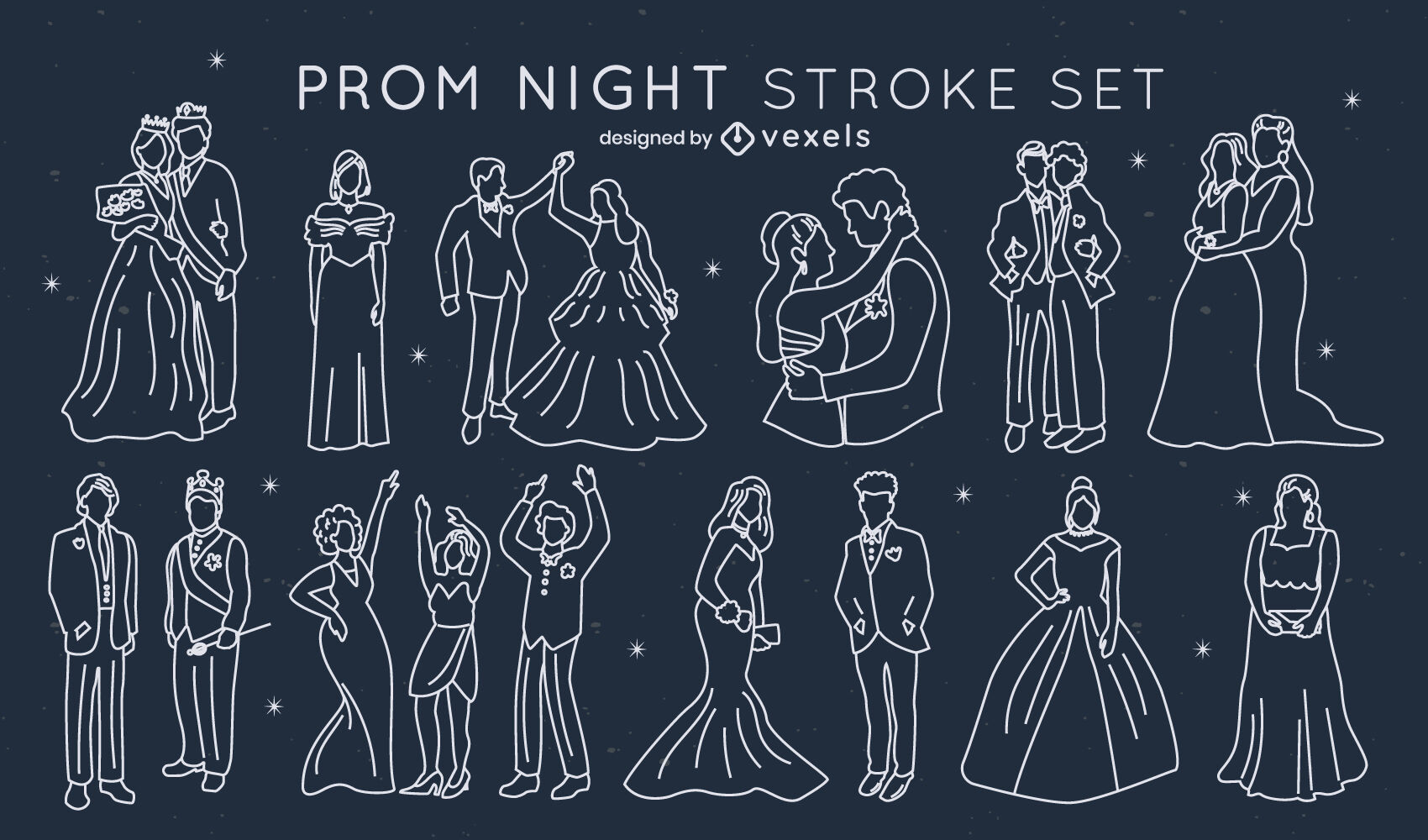 Prom party characters formal clothes stroke set