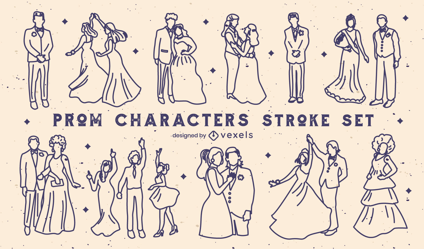 Prom formal party characters stroke set
