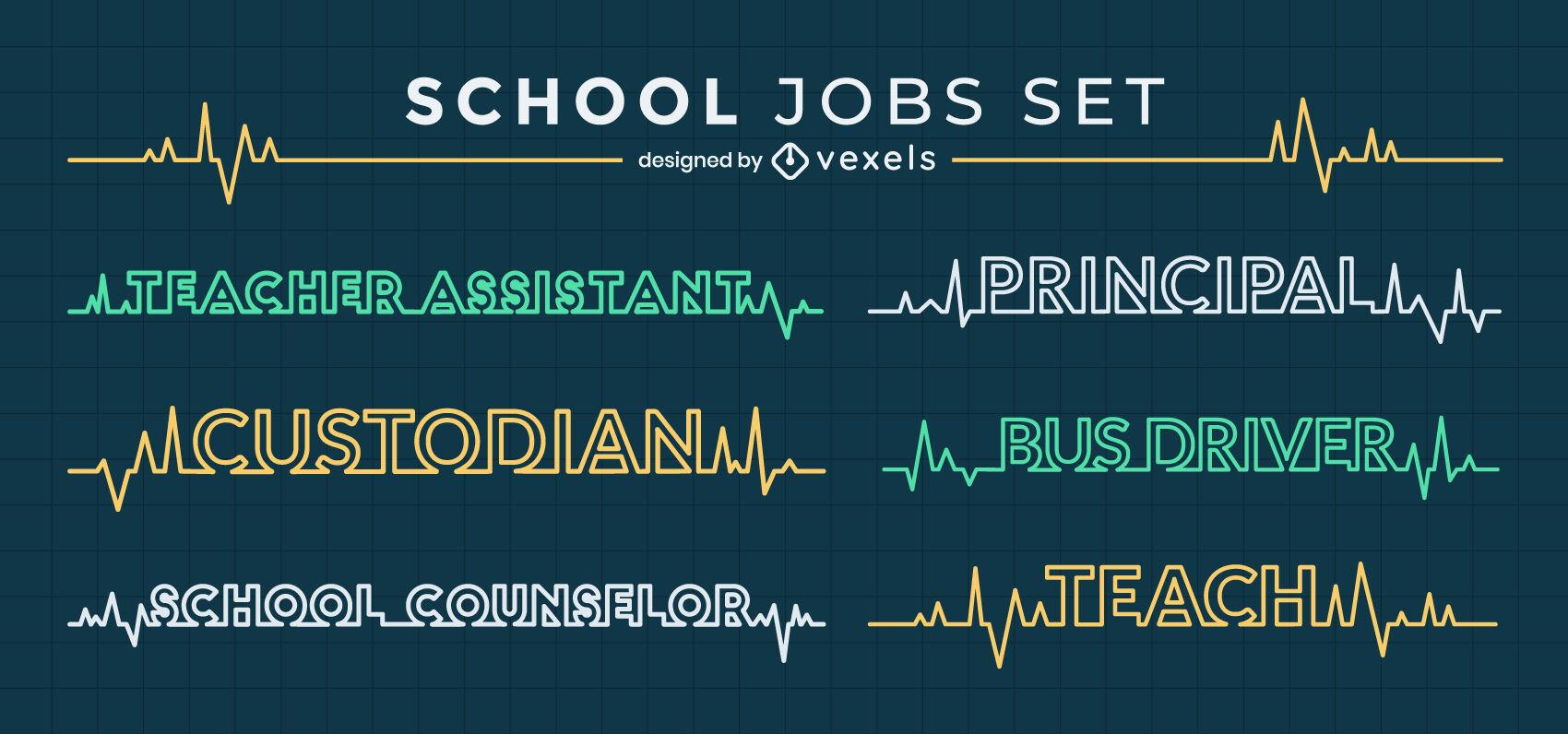 Conjunto de líneas de frecuencia cardíaca de educación de trabajos escolares