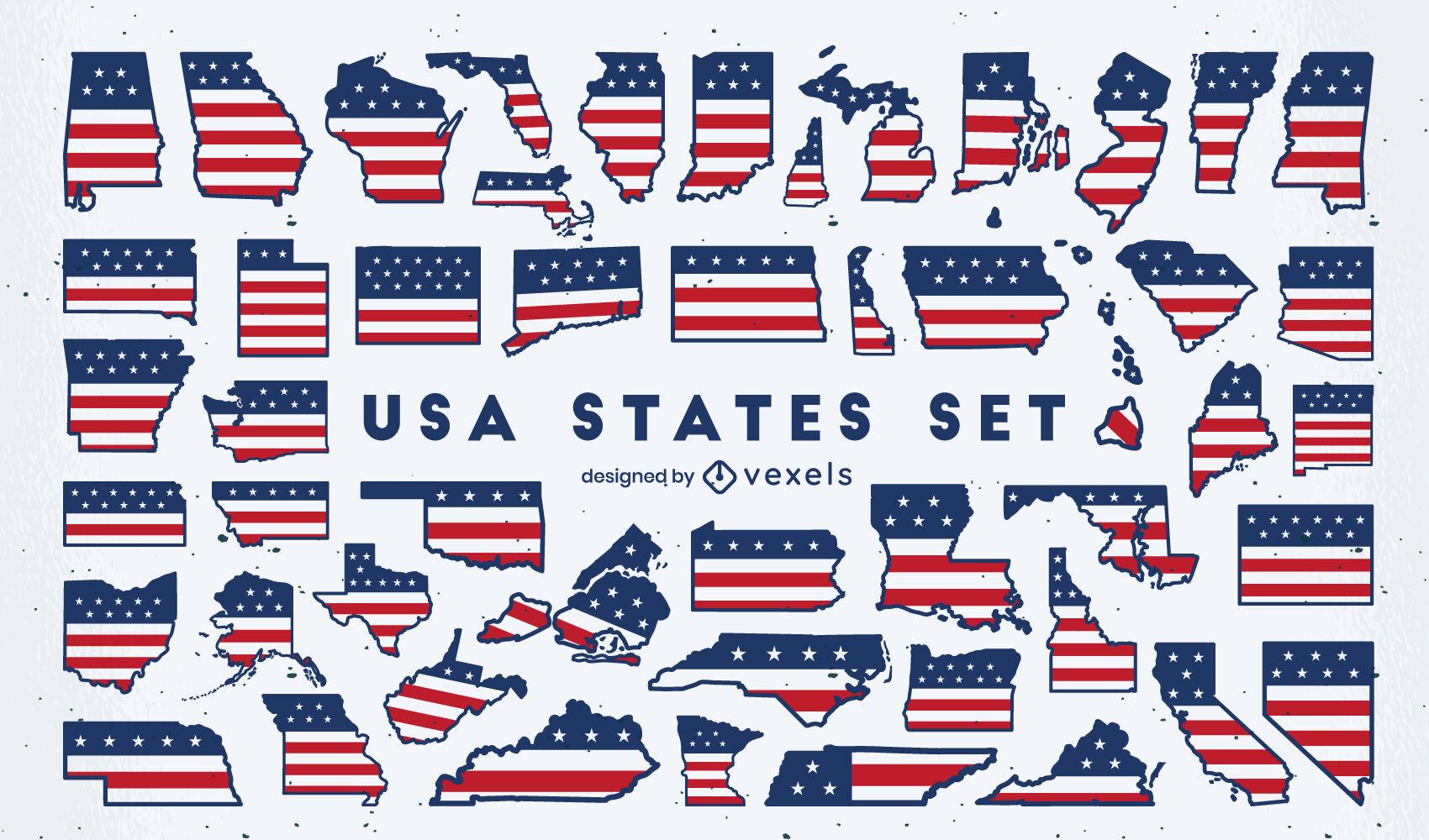 Conjunto plano de siluetas de estados unidos