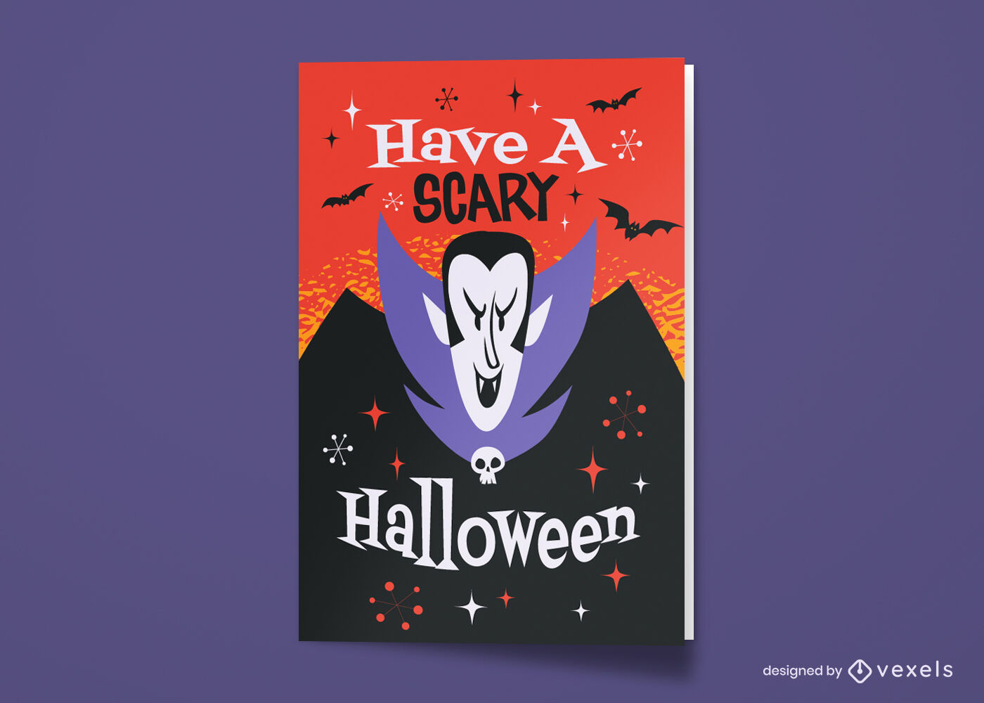 Tarjeta de felicitación de dibujos animados de vampiro de Halloween