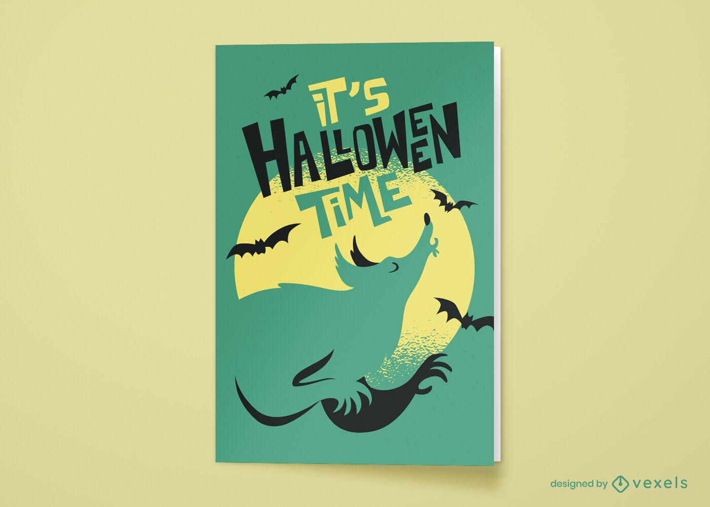 Tarjeta de felicitación de dibujos animados de hombre lobo de Halloween