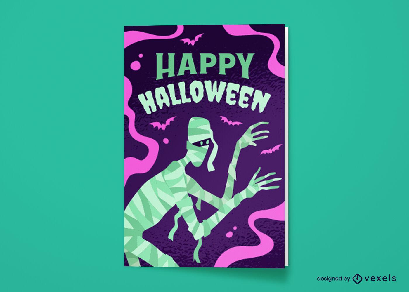 Tarjeta de felicitación de dibujos animados de momia de Halloween