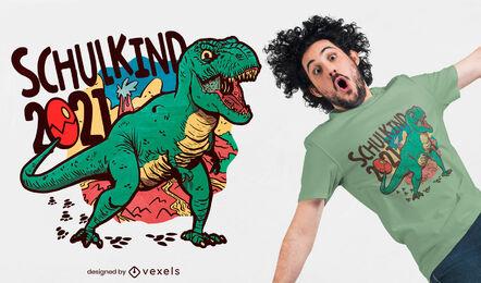 Diseño de camiseta t-rex dinosaur school 2021.