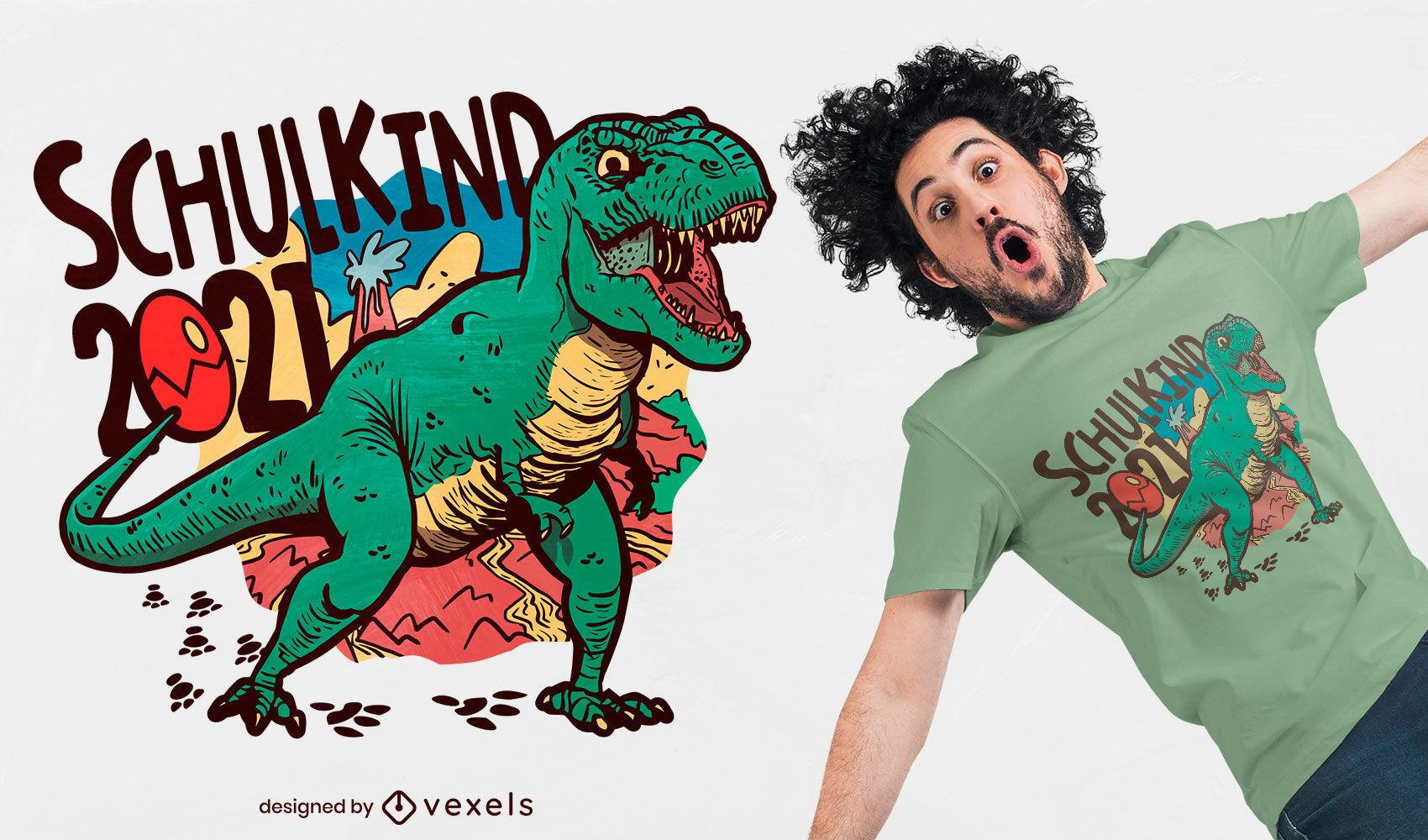T-Rex Dinosaurier Schule 2021 T-Shirt Design