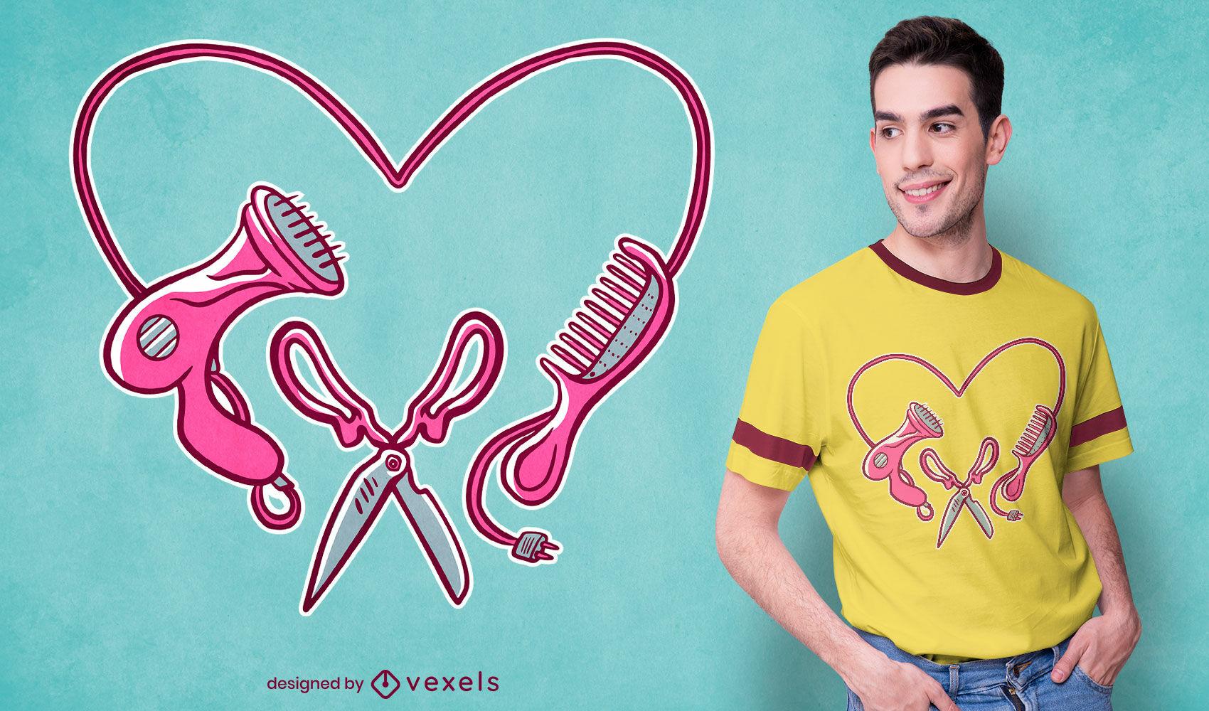 Diseño de camiseta de herramientas de trabajo de peluquería.