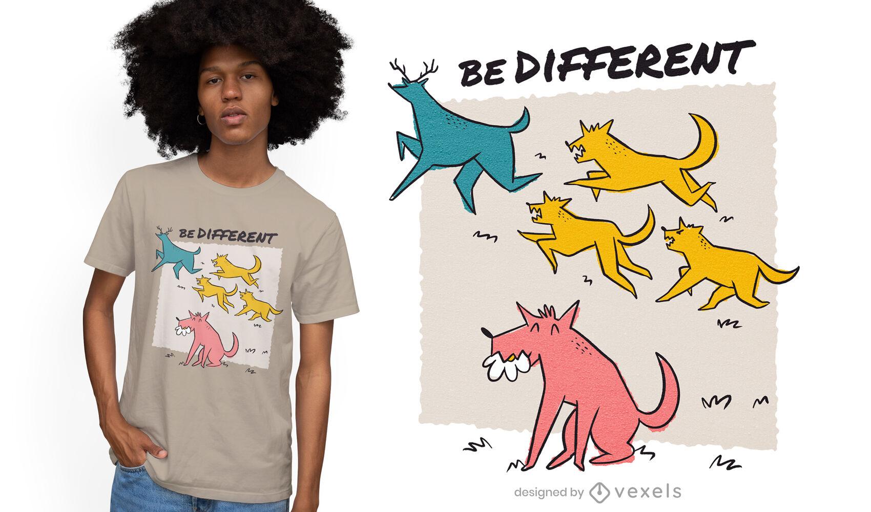Diseño de camiseta de doodle de lobos y ciervos.