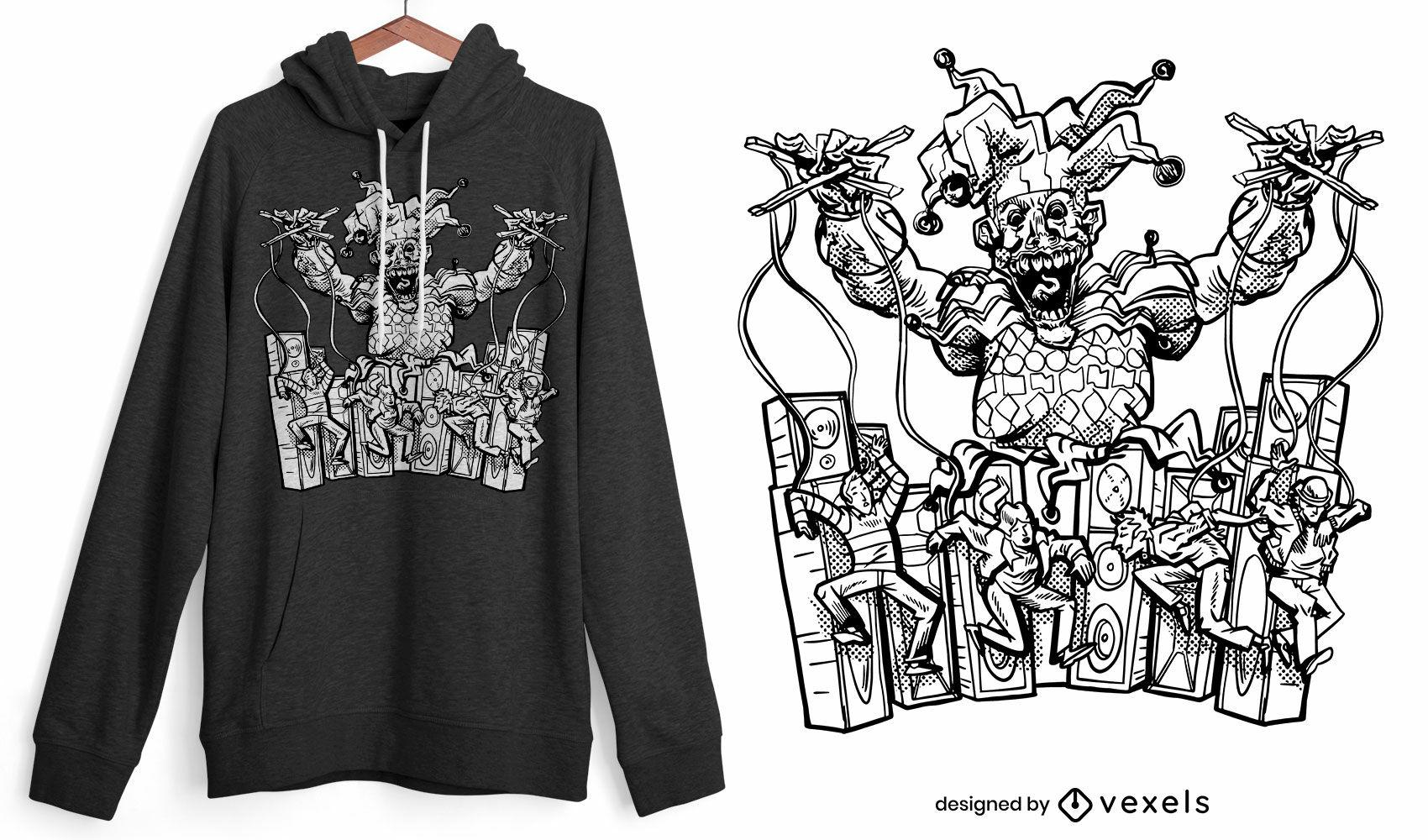 Diseño de camiseta de payaso y marionetas de miedo.