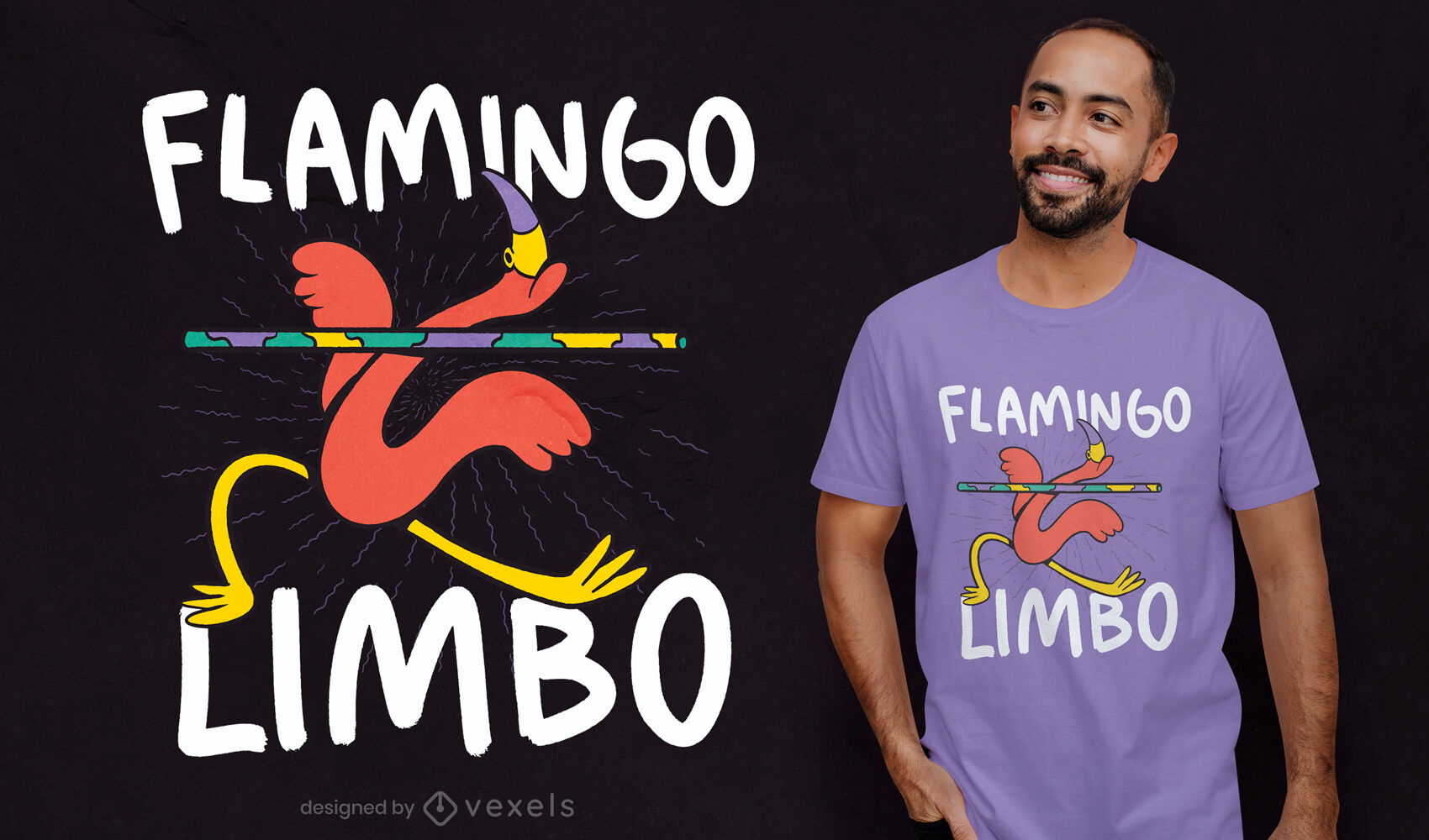 Diseño de camiseta flamingo limbo dance