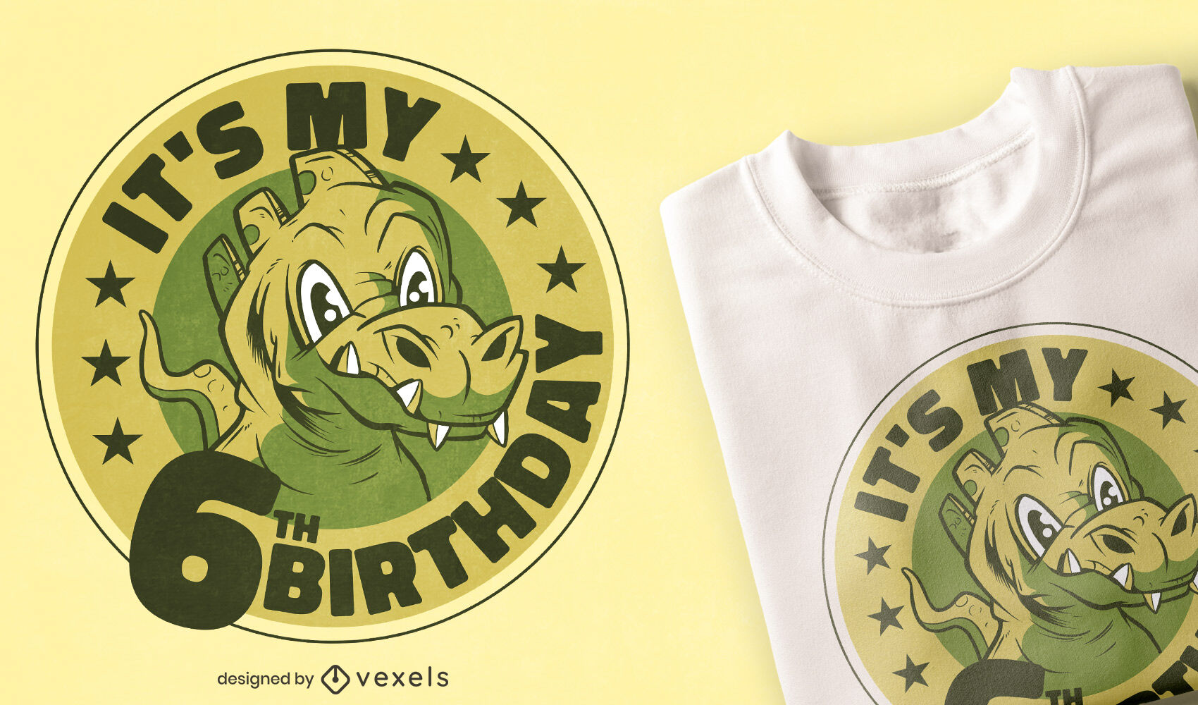 Dise?o de camiseta de sexto cumplea?os de dinosaurio.