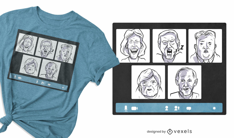 Político reunión en línea diseño de camiseta divertida
