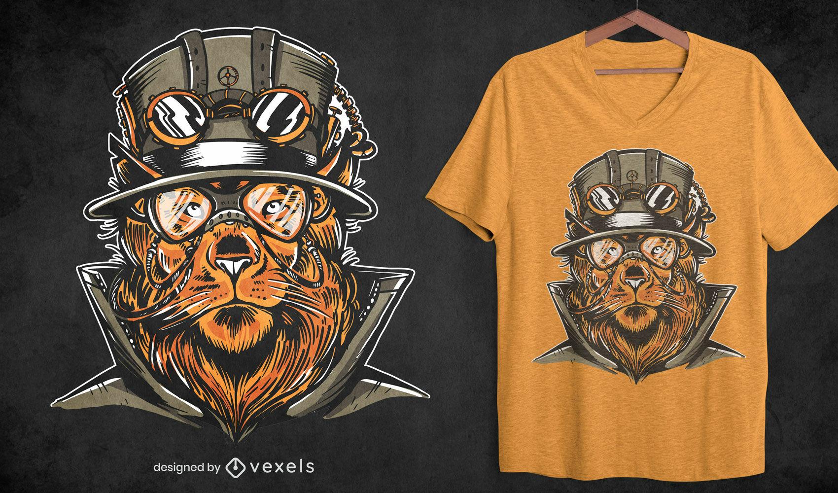 Design de t-shirt animal com leão Steampunk