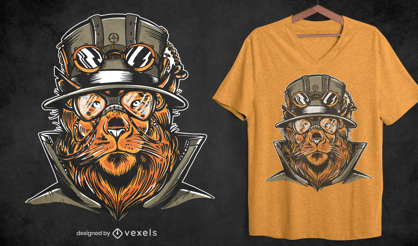 Diseño de camiseta steampunk lion animal
