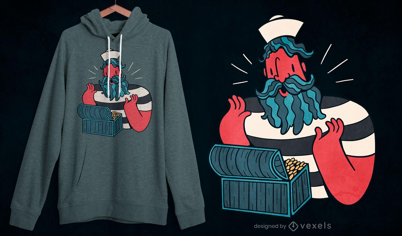 Retro cartoon sailor treasure t-shirt design