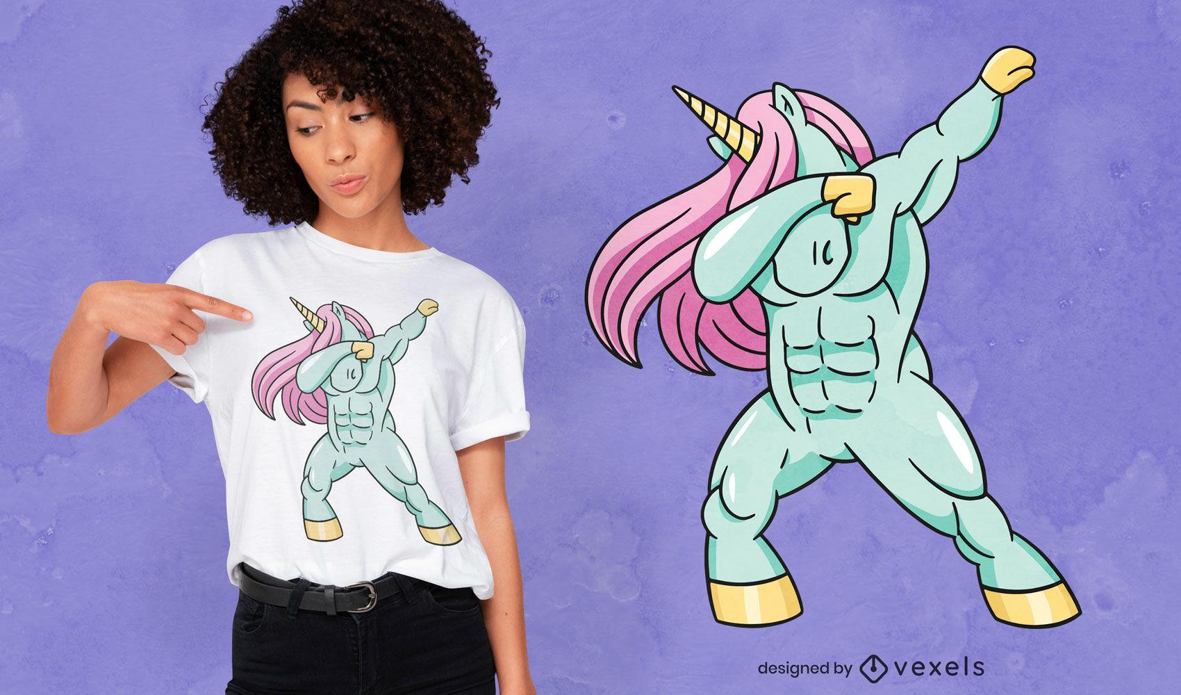Fuerte diseño de camiseta con dabbing de unicornio.