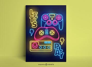 Gaming hobby joystick diseño de cartel de neón.