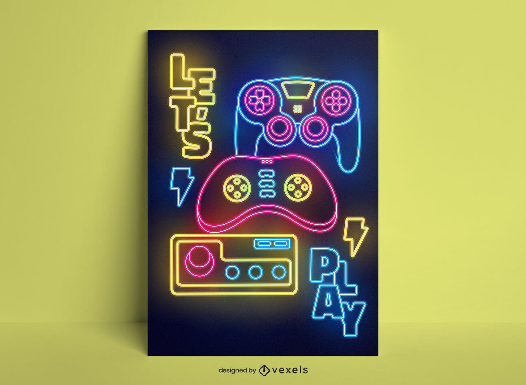 Design de pôster neon de joystick de passatempo para jogos