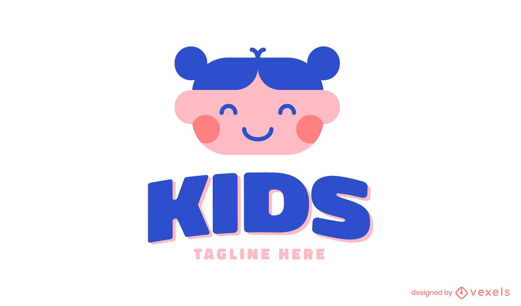 Plantilla de logotipo de niña sonriente