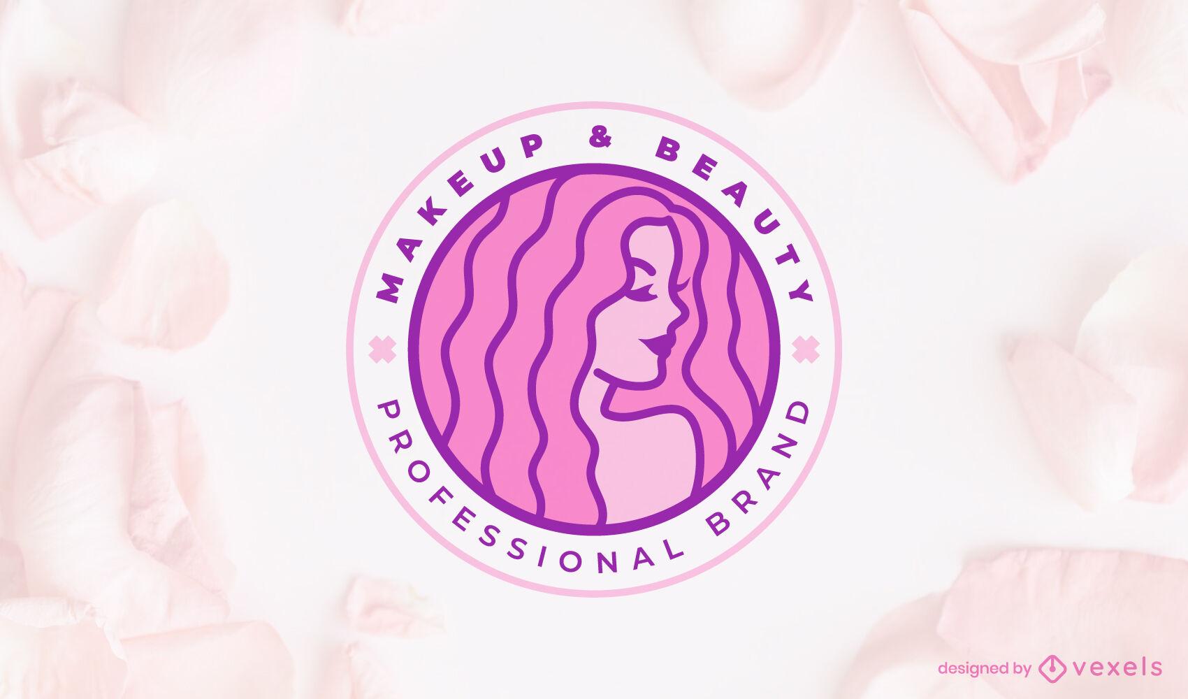 Beleza do logotipo de menina de cabelos compridos
