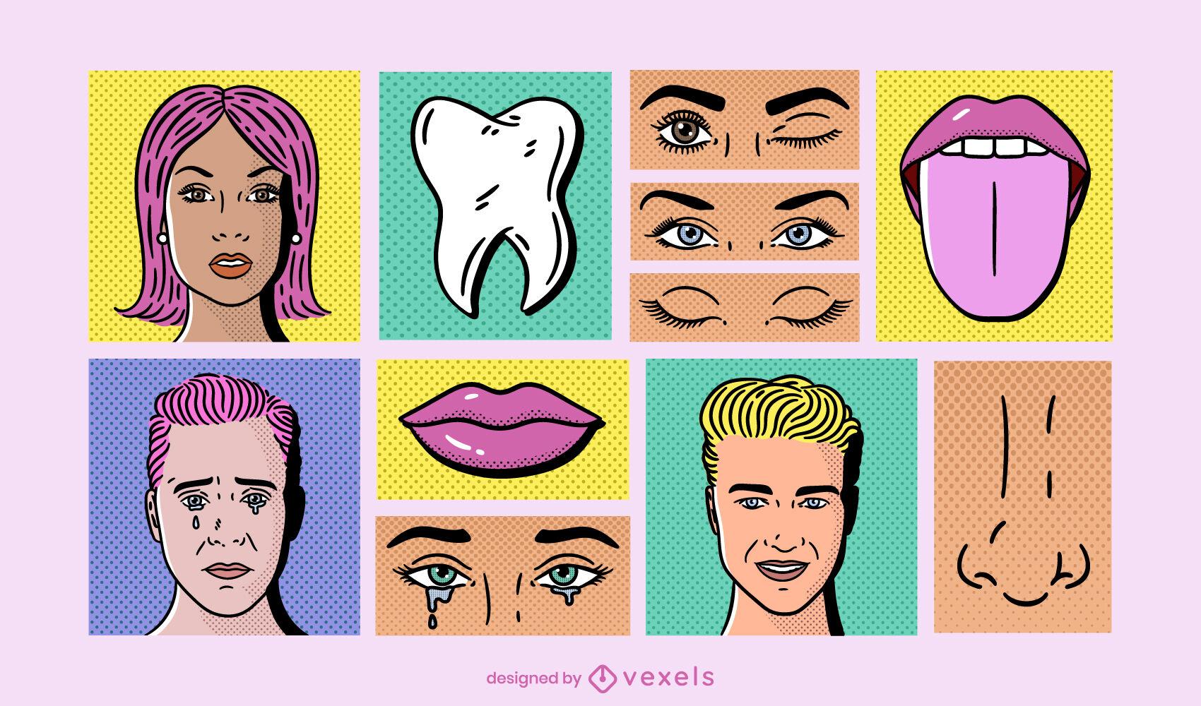 Face features comic pop art set
