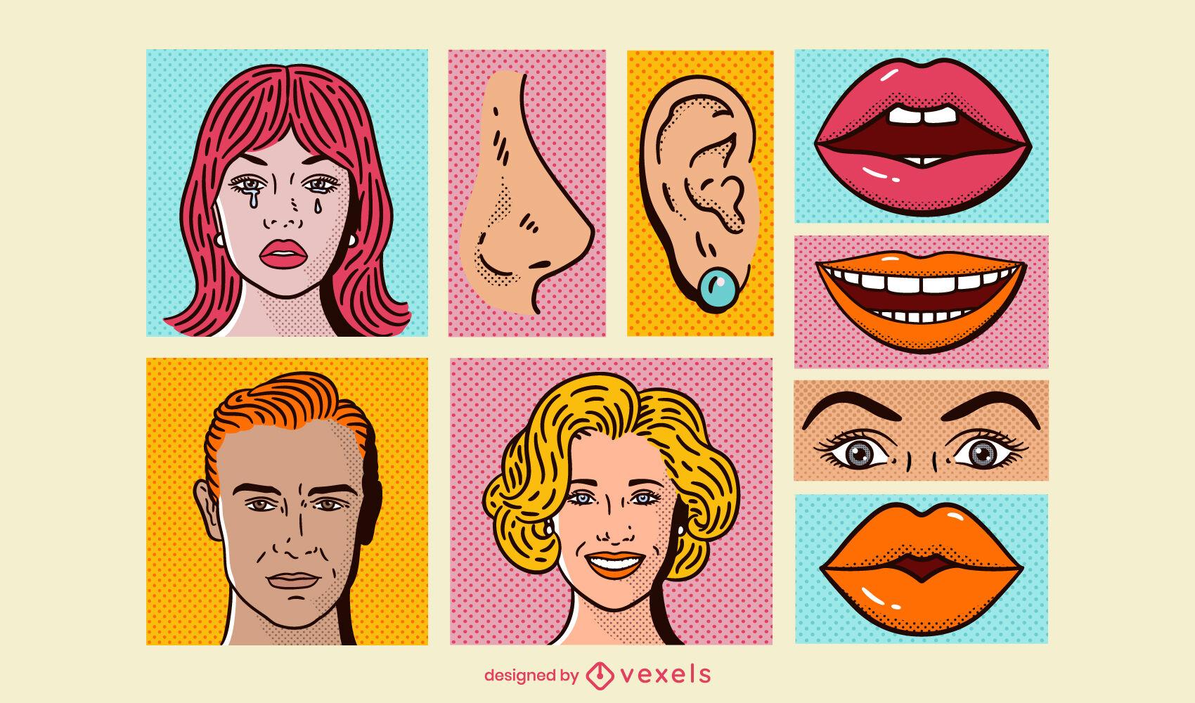 Face features comic set pop art