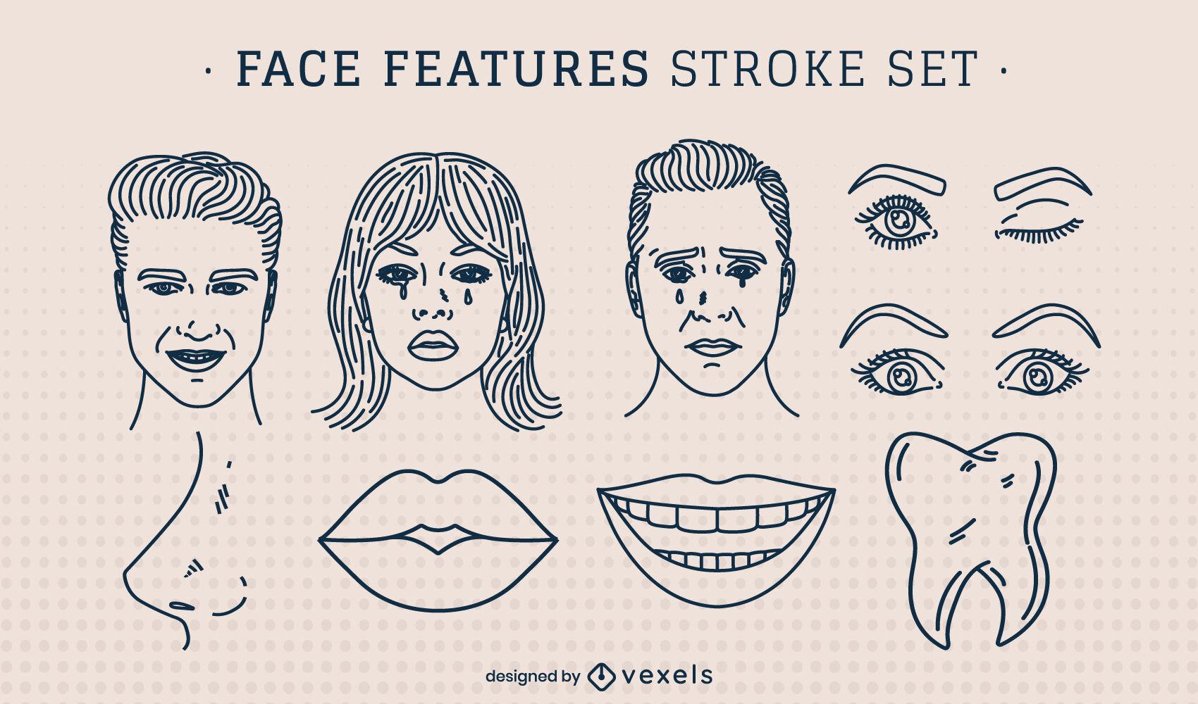 Conjunto de traços de anatomia com rosto
