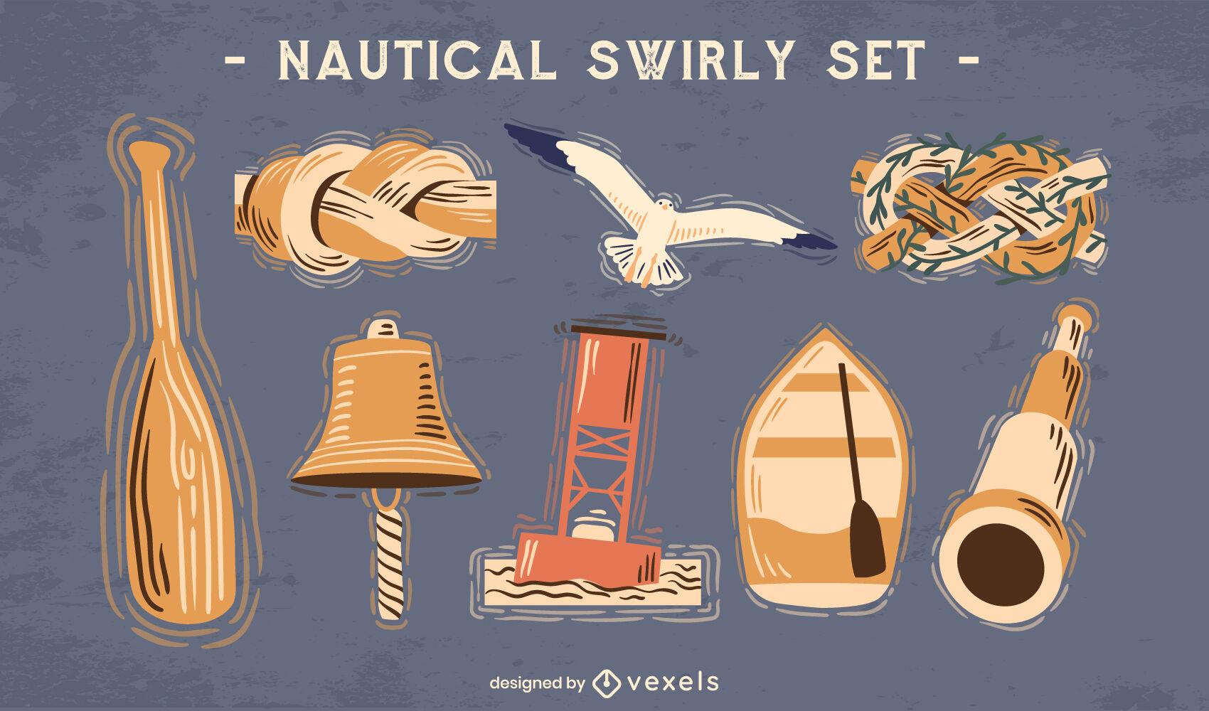 Nautical sailing elements semi flat set