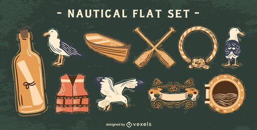 Nautical sailing elements set semi flat