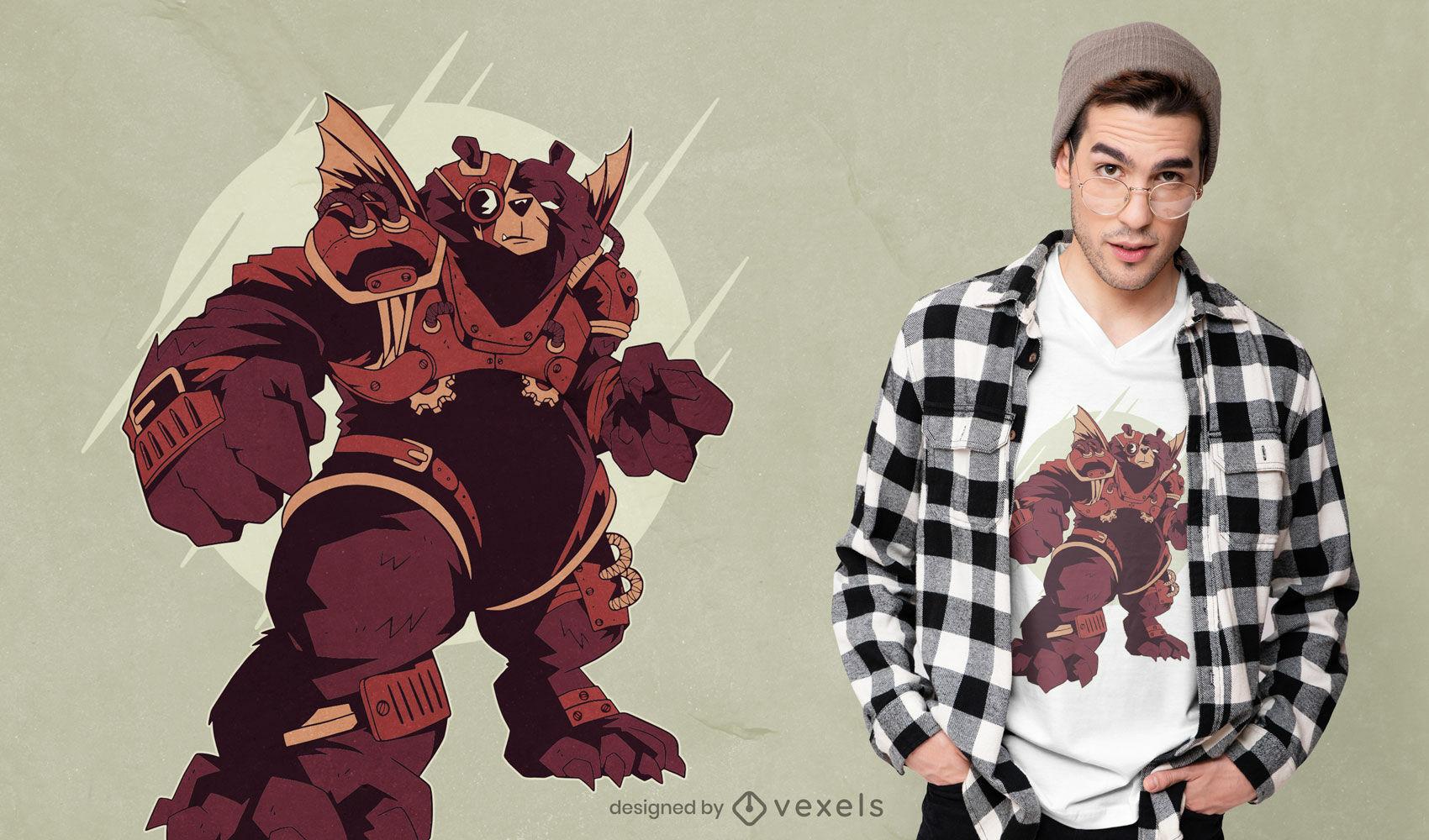 Bear in steampunk armor animal t-shirt design