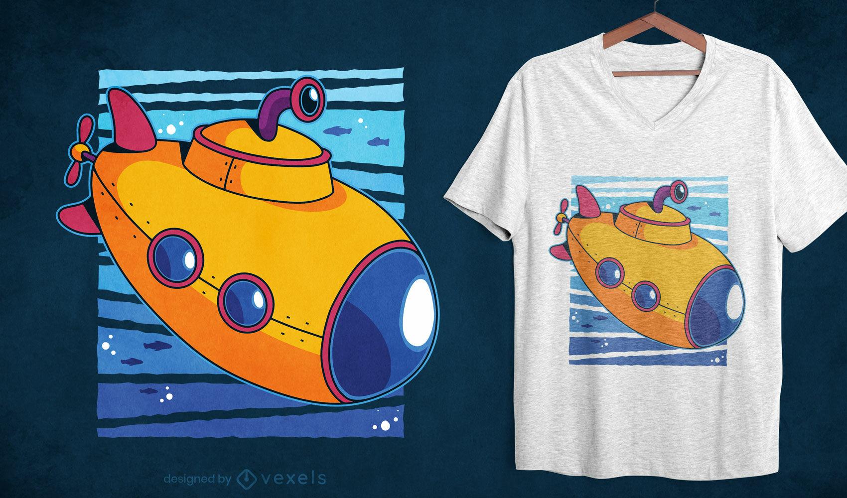 Toy submarine ocean cartoon t-shirt design
