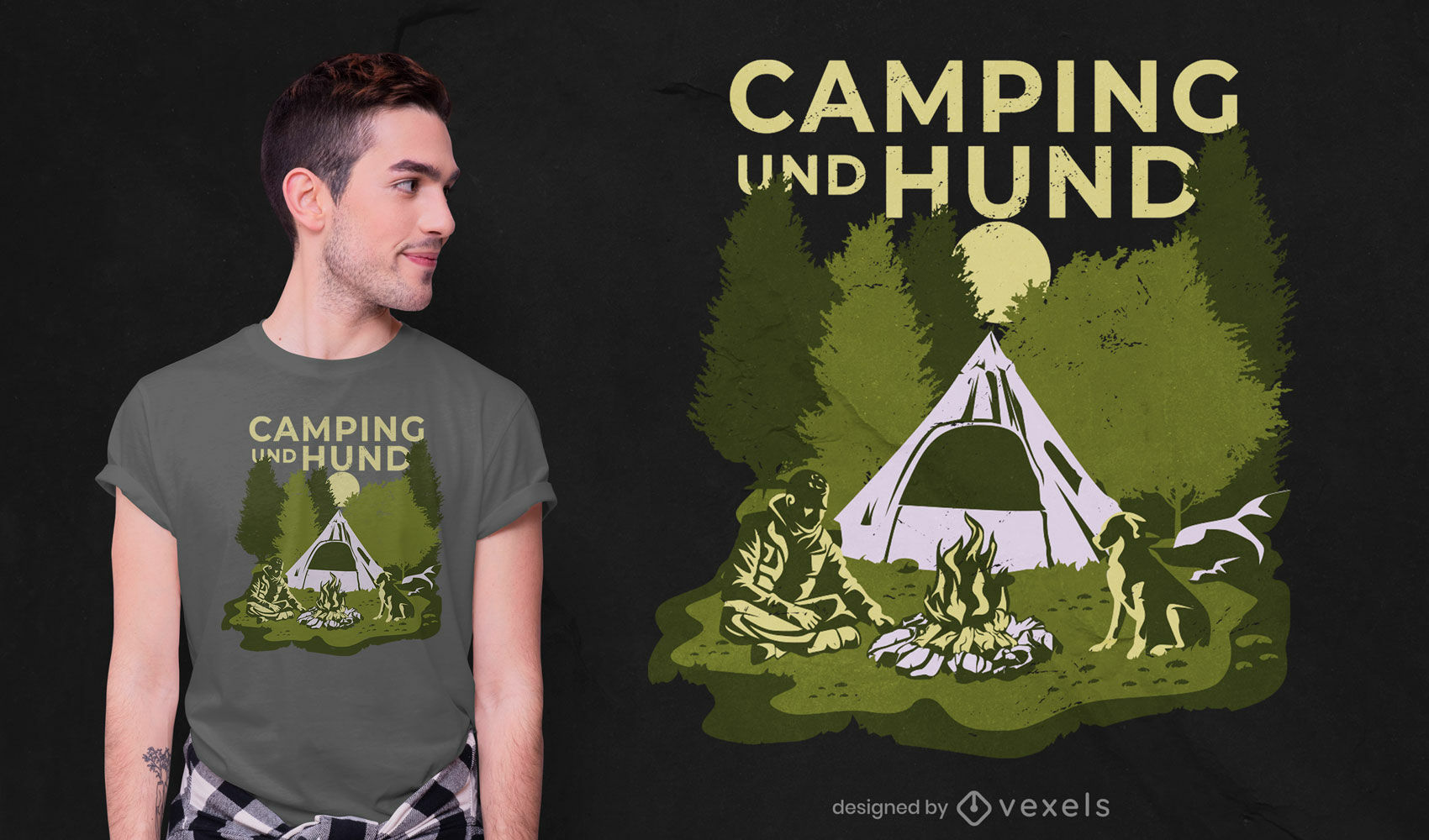Man and dog in nature camping t-shirt design