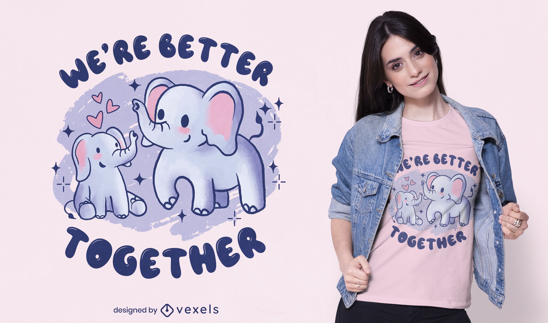 Diseño de camiseta linda familia de elefantes